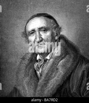 Schadow, Johann Gottfried, 20.5.1764 - 27.1.1850, scultore tedesco, ritratto, incisione in legno di H. Brei, dopo la pittura di Huebner,