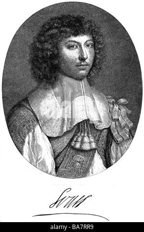 Luigi XIV, 5.9.1638 - 1.9.1715, Re di Francia 1643 - 1715, ritratto, come giovane uomo, incisione su rame di Pieter van Schuppen, dopo la verniciatura da Wallerant Vaillant (1623 - 1677), artista del diritto d'autore non deve essere cancellata Foto Stock
