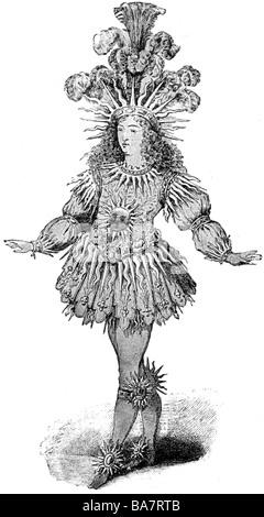 Luigi XIV, 5.9.1638 - 1.9.1715, re di Francia 1643 - 1715, a tutta lunghezza, come 'Roi soleil', nel Ballett de Nuit 1653, disegno contemporaneo, Foto Stock
