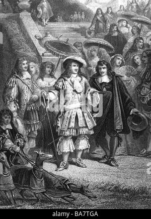 Luigi XIV, 5.9.1638 - 1.9.1715, Re di Francia 1643 - 1715, a piena lunghezza e con la sua suite royal, anonimo incisione in acciaio, secolo XIX, artista del diritto d'autore non deve essere cancellata Foto Stock