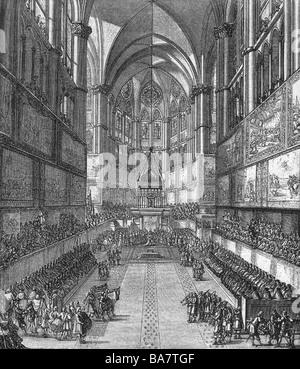 Luigi XIV, 5.9.1638 - 1.9.1715, Re di Francia 1643 - 1715, incoronazione, unzione, Cattedrale di Reims, dopo contemporanea incisione su rame, artista del diritto d'autore non deve essere cancellata Foto Stock