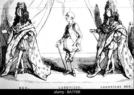 Luigi XIV, 5.9.1638 - 1.9.1715, Re di Francia 1643 - 1715, lunghezza intera, caricatura, i vestiti fanno il re, attingendo da 'lo Sketchbook di Parigi' da Titmarsh (W. Thackeray), 1840, 'uno studio storico', frontespiece, di William Makepeace, Foto Stock