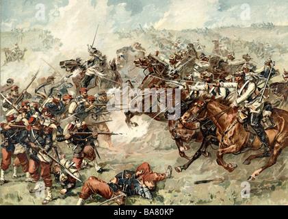 Eventi, Guerra franco-prussiana 1870 - 1871, Battaglia di Marte-la-Tour, 16.8.1870, carica della Brigata di Bredow, Foto Stock