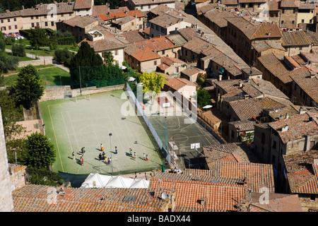 Panoramica di San Gimignano, Toscana, Italia Foto Stock