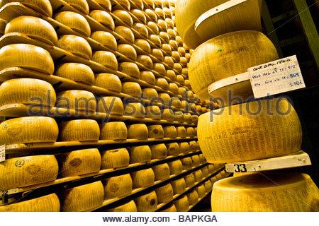 Parmigiano reggiano cooperativa casearia castelnovese castelnuovo rangone emilia romagna italia Foto Stock