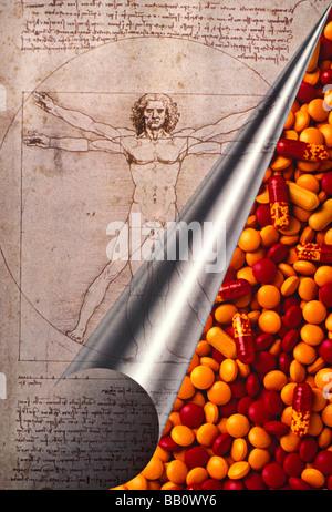Leonardo Da Vinci ricciolo pagina con le pillole Foto Stock