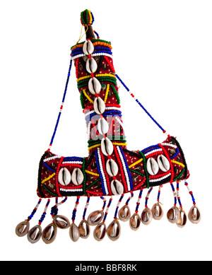 Contenitore per cosmetici per il trucco per il kohl e decorati con conchiglie e perline Yemen Africa 1960s Foto Stock