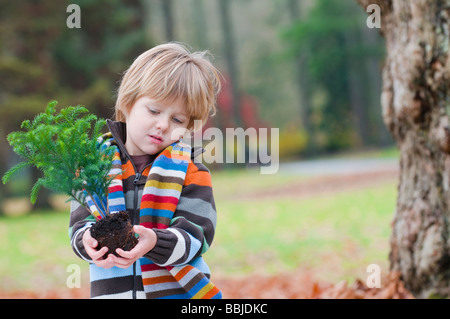 Ragazzo giovane azienda piccolo albero pronto per impianto, Vancouver, British Columbia Foto Stock