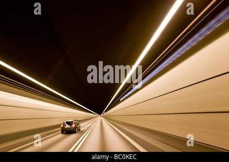 All'interno del tunnel al ponte di Oresund tra la Danimarca e la Svezia Foto Stock