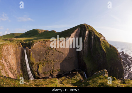 Speke mulino della cascata di bocca sulla North Devon Coast Heritage Estate sun England Regno Unito Regno Unito Foto Stock