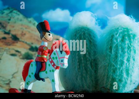 Soldatino di equitazione cavallo di legno Foto & Immagine
