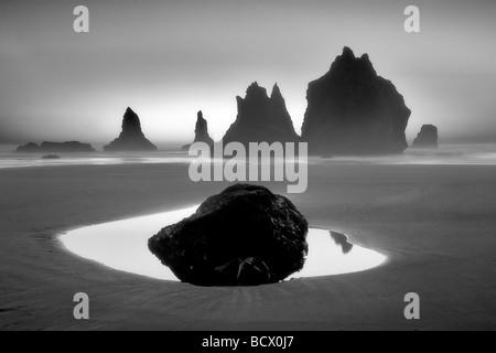 Monolito pile del mare che riflette la piscina e il tramonto Samuel H Boardman membro Scenic Corridoio Oregon Foto Stock