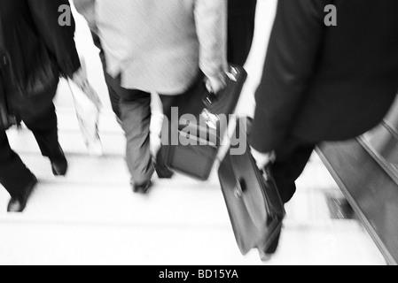 I professionisti aziendali con valigette di discesa delle scale Foto Stock