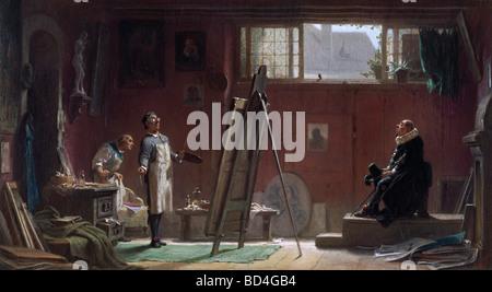 """Belle arti, Spitzweg, Carl (1808 - 1885), pittura, 'Il ritratto pittore"""", 1860, 40 x 22 cm, collezione privata, Biedermeier,"""
