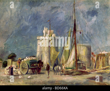 """Belle arti, Renoir, Auguste (1841 - 1919), """"Porto di La Rochelle', Lefevre Gallery di Londra, impressionismo, paesaggio, Foto Stock"""