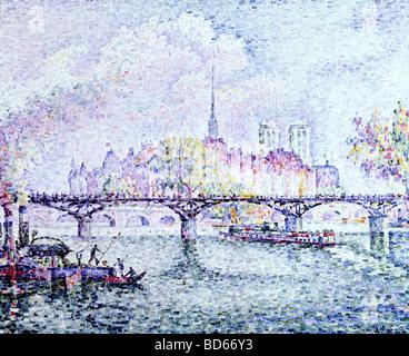 "Belle arti, Signac Paul, (1863 - 1935), pittura, 'Parigi, Ile de la Cite"", 1912, olio su tela, il Museum Folkwang di Essen, Francese"
