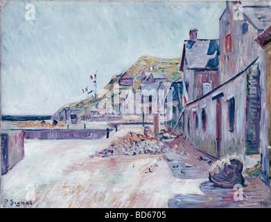 Belle arti, Signac Paul, (1863 - 1935), pittura, 'Case coloniche presso la costa francese', Saarlandmuseum, Saarbrücken Foto Stock