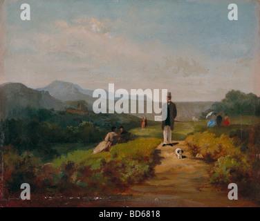 Belle arti, Spitzweg, Carl (1808 - 1885), pittura, 'Der Gutsherr' (Il Laird), la Kunsthalle di Mannheim, Germania, Foto Stock