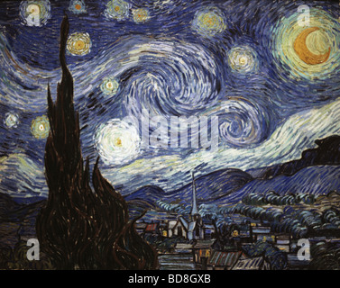 "Belle arti, Gogh, Vincent van, (1853 - 1890), pittura, ""Notte stellata"", olio su tela, 73 x 92 cm, 1889, National Foto Stock"