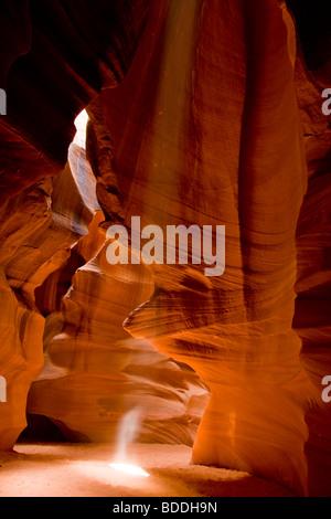 Albero della luce nella parte superiore Antelope Canyon naturale attrazione su Navajo American terre indiane della Foto Stock