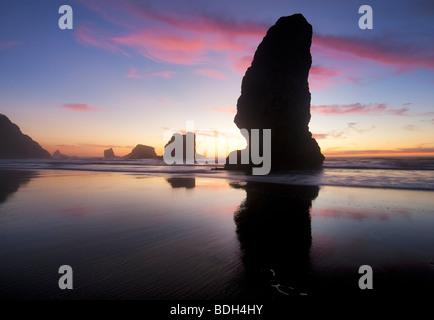 La bassa marea e del tramonto riflesso a Samuel H. Boardman membro Scenic corridoio. Oregon Foto Stock