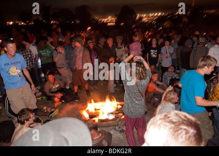 Cerchio di pietra di notte, Glastonbury festival 2009 Foto Stock