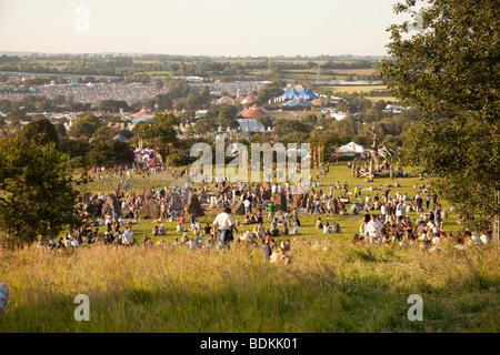 Il cerchio di pietra al Glastonbury Festival 2009 Foto Stock