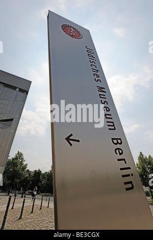 Segno posto al Museo Ebraico di Berlino, Germania, Europa Foto Stock