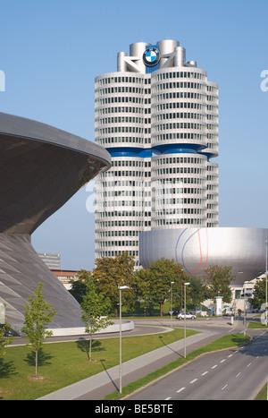 Dettagli architettonici del BMW Welt di Monaco di Baviera. Germania Foto Stock