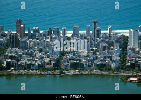 Vista aerea di Ipanema, a Rio de Janeiro in Brasile Foto Stock
