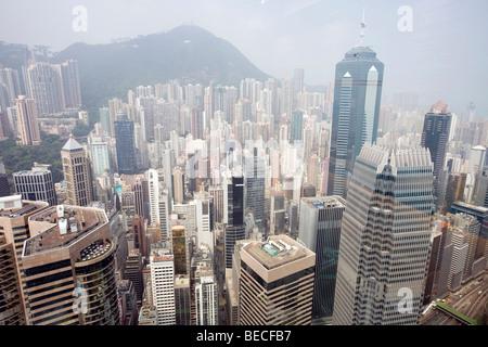 Vista da 2 IFC torre, Isola di Hong Kong, Hong Kong, Cina, Asia