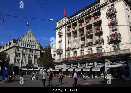 La Svizzera, Zurigo, Paradeplatz, Savoy Hotel Foto Stock