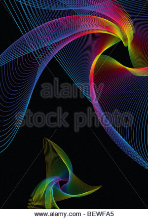 Arcobaleno di vorticazione linee colorate Foto Stock