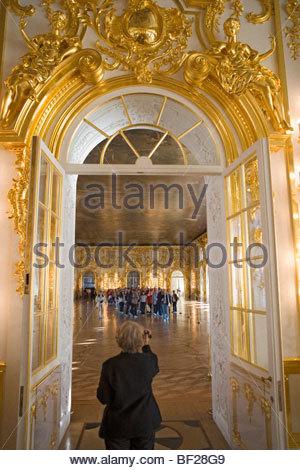 Interno al Palazzo di Caterina a Carskoe Selo, 25 km a sud-est di San Pietroburgo, Russia Foto Stock