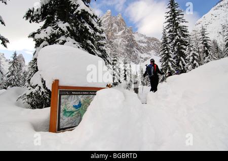 Sci alpinismo, Mt. Sextner Stein, Sesto, Alta Pusteria valley, Alto Adige, Italia, Europa Foto Stock