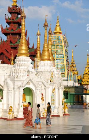 Gli stupa, Shwedagon pagoda Yangon, birmania, myanmar Foto Stock