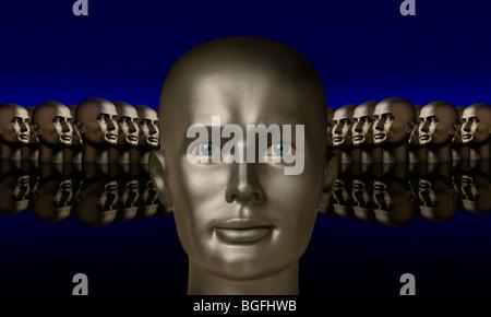 Argento testa mannaquin affiancato da due gruppi di teste contrapposte su un Riflettente superficie nera con uno Foto Stock