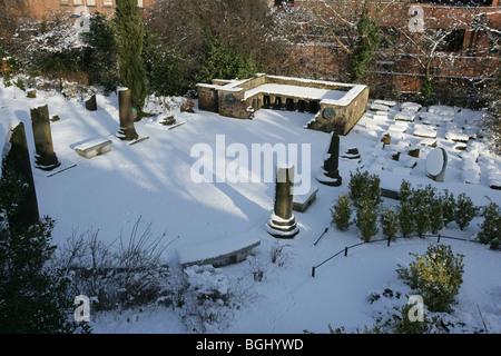 Chester il giardino romano nella neve foto immagine stock