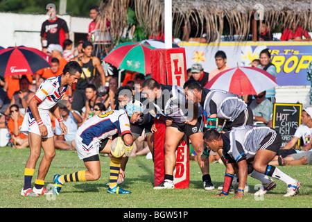 Una partita di rugby a Rarotonga nelle Isole Cook Foto Stock