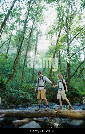 Gli escursionisti a piedi sul log Foto Stock