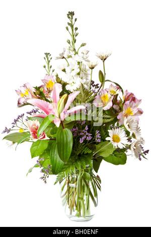 Bouquet di fiori isolati su sfondo bianco Foto Stock