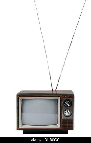 Vintage televisione con antenna isolate su sfondo bianco Foto Stock