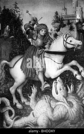 George, Saint + circa 303, martire, Santo Helper, mezza lunghezza, a cavallo, in lotta con il drago, stampa dopo il dipinto di Lucas Cranach il Vecchio (1472 - 1553), circa 1525, artista del diritto d'autore non deve essere cancellata