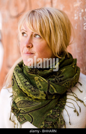 Ritratto di una donna bionda, Svezia. Foto Stock