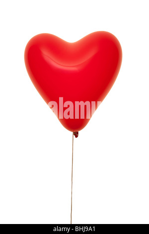 Cuore rosso palloncino di forma Foto Stock