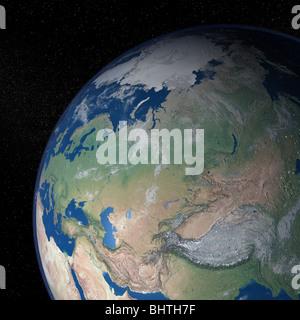 Un eccezionale qualità foto realistiche di resa immagine della terra come visto dallo spazio su uno sfondo di stelle Foto Stock