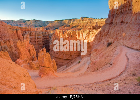 Tornanti del percorso verso il basso nel Wall Street, il Parco Nazionale di Bryce Canyon, Utah, Stati Uniti d'America Foto Stock