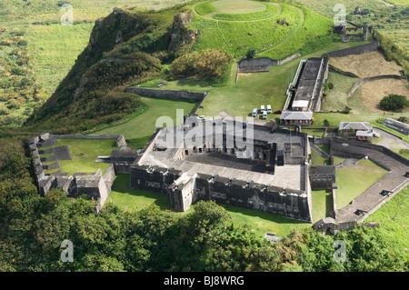 Foto aerea di fort su Brimstone Hill, Saint Kitts dei Caraibi Foto Stock