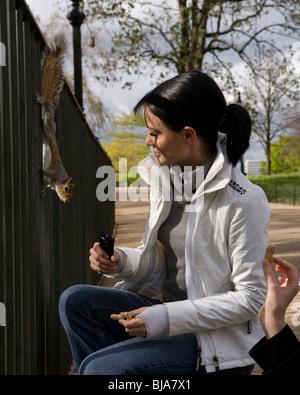 Donna con i capelli neri di alimentazione i dadi di scoiattolo nel parco
