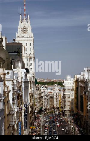 Edificio di Telefonica e Gran Via, Madrid, Spagna, Europa Foto Stock